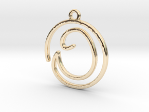 O Script Monogram Pendant in 14k Gold Plated Brass