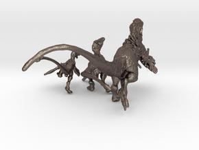 Raptor Statues in Polished Bronzed Silver Steel
