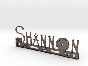 Shannon Nametag in Polished Bronzed Silver Steel