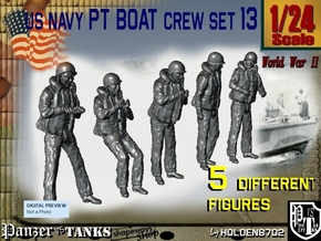 1/24 US Navy Sailor PT Boat Set 13 in White Natural Versatile Plastic
