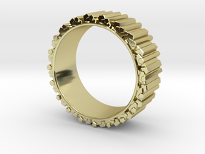Crystal Ring - ring size ca 2 in 18k Gold Plated Brass
