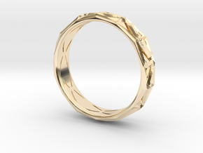 Cut Facets Ring Sz. 9.5 in 14k Gold Plated Brass
