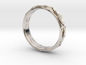 Cut Facets Ring Sz. 9.5 in Rhodium Plated Brass