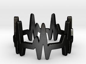 Heartbeat Ring  in Matte Black Steel: 6 / 51.5