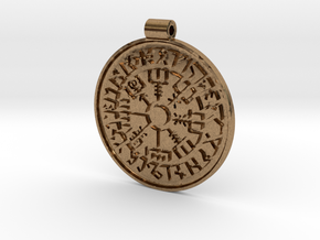 Vegvisir Nordic magical stave pendant in Natural Brass