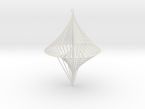 String Sculptures Pendant - Straight Line Curve in White Natural Versatile Plastic