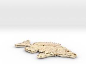 Bluegill Fish Skeleton Pendant in 14K Yellow Gold