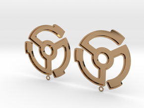 45rpm record adapter earrings in Polished Brass