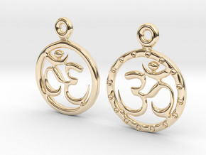 Om EarRings - Pair - Precious Metal in 14K Yellow Gold
