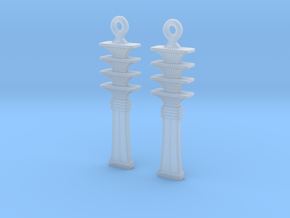 Djed EarRings - Pair - Plastic in Smooth Fine Detail Plastic