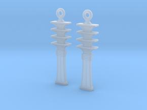 Djed EarRings - Pair - Plastic in Smooth Fine Detail Plastic