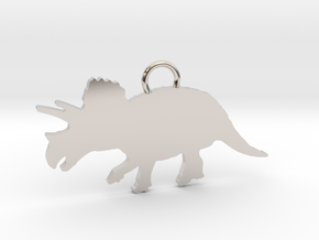 Triceratops necklace Pendant in Rhodium Plated Brass