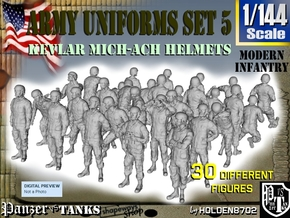 1-144 Army Modern Uniforms Set5 in Smooth Fine Detail Plastic