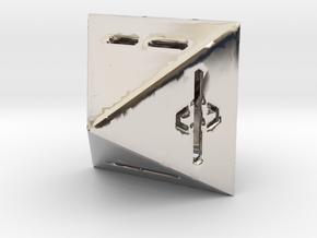 IChingDice-solidLineFix in Rhodium Plated Brass