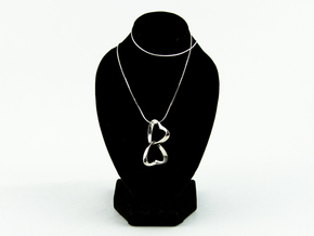 Joined Together - Interlocking Hearts Pendant in Interlocking Raw Silver