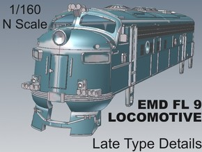 1-160 EMD FL 9 LATE Locomotive in White Natural Versatile Plastic