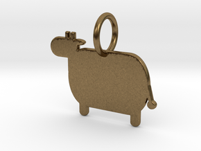 Cow Keychain in Natural Bronze