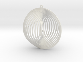 Pendant Wind Spinner Circle in White Natural Versatile Plastic