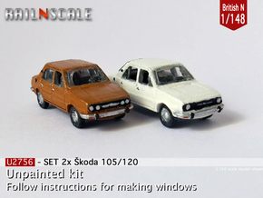 SET 2x Skoda Estelle (British N 1:148) in Smooth Fine Detail Plastic