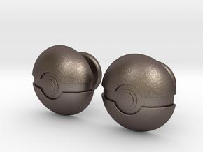 Pokeball Cufflinks in Polished Bronzed Silver Steel