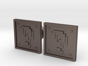 Question Block Cufflinks (8-Bit) in Polished Bronzed Silver Steel