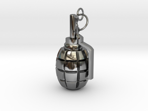 F1 granade pendant in Fine Detail Polished Silver