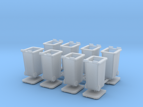 H0 Rubbish bins set B ( 8 pcs ) 1:87 scale  in Smooth Fine Detail Plastic