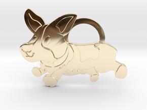 Corgi Keychain  in 14k Gold Plated Brass