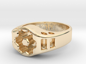 US12.5 Ring XIX: Tritium (Silver) in 14K Yellow Gold