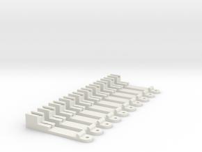 Streckenmastadapter für Tomix Einzelgleis, 1:160,  in White Natural Versatile Plastic