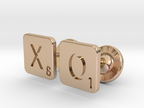 Hugs and Kisses XO Scrabble Cufflinks in 14k Rose Gold Plated Brass