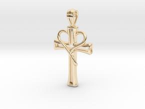 Heart Cross Pendant in 14K Yellow Gold