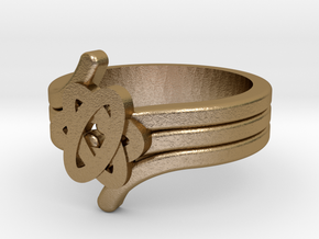 Quantum Wave Ring 2 in Polished Gold Steel