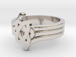 Quantum Wave Ring 2 in Rhodium Plated Brass