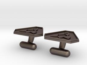 Cufflink in Polished Bronzed Silver Steel
