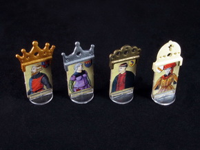 Fief - King etc. markers (4pcs) in White Strong & Flexible