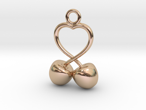 Two Cherries And Heart We in 14k Rose Gold Plated Brass