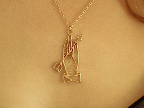 Hand and arrow in Natural Brass