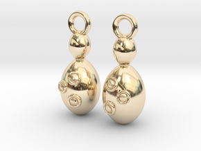 Saccharomyces Yeast Earrings - Science Jewelry in 14k Gold Plated Brass