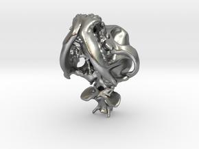 Pug Dog Skull Pendant  in Natural Silver