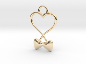 Two Hearts And One Heart in 14k Gold Plated Brass