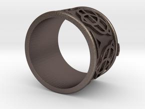 Celtic Ring Bene in Polished Bronzed Silver Steel