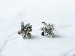Succulent No. 3 Stud Earrings in Polished Silver