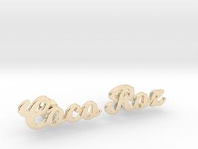 "Custom Name Cufflinks - ""Coco & Roz"" in 14k Gold Plated Brass"