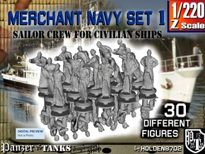 1-220 Merchant Navy Crew Set 1 in Smoothest Fine Detail Plastic
