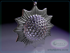 Trochodiscus stellaris pendant ~ 46mm in Natural Silver
