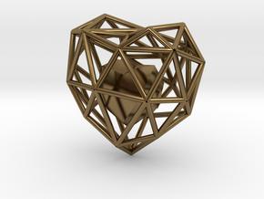 Heart Wireframe Pendant in Interlocking Polished Bronze