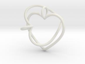Two Hearts Interlocking in White Natural Versatile Plastic