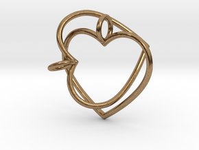 Two Hearts Interlocking in Natural Brass (Interlocking Parts)