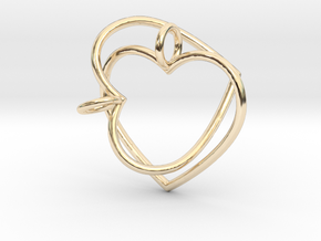 Two Hearts Interlocking in 14k Gold Plated Brass